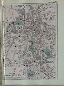 1886 Cheltenham Antique Hand Coloured Town Plan by G.W. Bacon