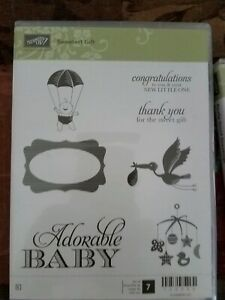 Stampin Up SWEETEST GIFT Stamp Set Baby Shower Stork Little One Thanks NEW