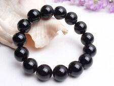 AAA Natural Brazil Black Tourmaline Crystal loose beads Bracelet 14mm