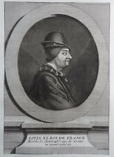 Gravure Etching Portrait LOUIS XI Roi de France Eisen