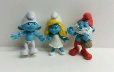 Lot of 3 The Smurfs Movie Grab Ems Jointed Figure Peyo Jakks Pacific 2011 papa
