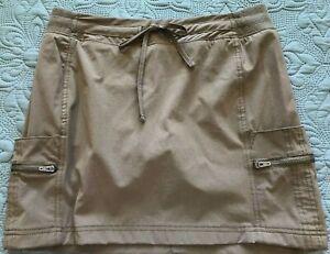 Tangerine Skort Size Small Women's Side & Zip Pockets Khaki Green Stretch