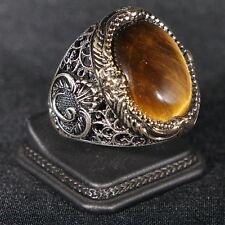 Turkish Handmade Ottoman 925K Sterling Silver Tiger Eye Men's Ring Size 10,11,12