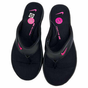 NWT NIKE ULTRA COMFORT AUTHENTIC WOMEN'S BLACK PINK 3 THONG FLIP FLOPS SIZE 11