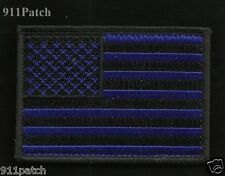 Blue Line Black & Blue USA American Flag Hook Loop Law Enforcement Police Patch