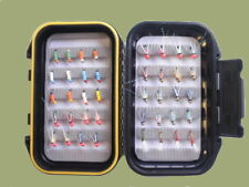Beaded Buzzer Trout Flies, 40 per watertight fly box, mixed sizes & designs