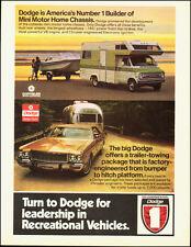 1973-Dodge`Mini Motor Home Chassis`Gold`Camper-Vintage Ad