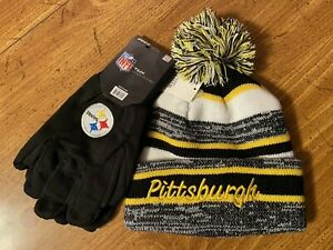PITTSBURGH STEELERS GLOVES & TEAM COLORED CUFFED POM BEANIE SET (2 CHOICES)