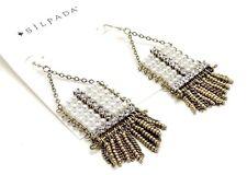 SILPADA K & R Abacus Earrings Brass Pearl Swarovski Crystal~KRW0027~NWT~ Dangle