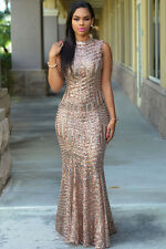 Champagne Sequin Long Dress Club Wear Fashion Evening Wear Size  M L