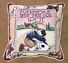 Mary Engelbreit Everyone Needs Their Own Spot ~ Dog Lined Tapestry Square Pillow