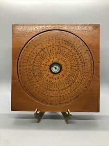 """VINTAGE CHINESE MARITIME GEOMANTIC WOOD COMPASS Base CONSTELLATIONS 7.75"""""""