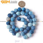 """Round Frost Blue Agate Gemstone Jewelry Making DIY Beads Strand 15"""",Size Select"""