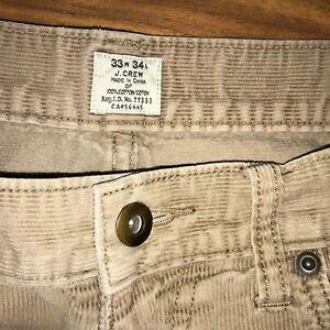J.CREW Corduroy Pants Tan Straight Leg Cotton CORD flat front Pant Mens 33 34