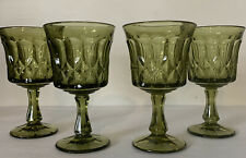Vintage Indiana Glass Arch And Diamond Pattern Green Tea Water Goblets Set of 4