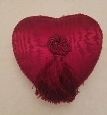 """Red Heart Shape Damask Fabric Jewelry Music Box plays Elvis """"My Love"""" Engagement"""