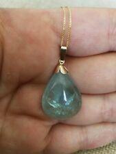 "Huge Natural 19.2cts Outstanding blue aquamarine 9ct necklace pendant 18"" vtg"