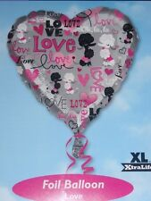 """18"""" FOIL BALLOON VALENTINES LOVE  VALENTINES DAY PINK AND SILVER POODLES"""