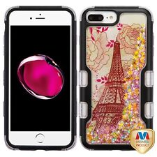Black Eiffel Tower Pink Stars Glitter Cover Phone Case Apple iPhone 7 Plus 7+