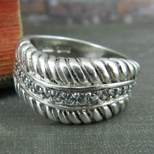 Thailand Sterling Silver & Clear Stone Wavy Band Ring