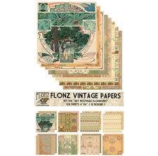 """Paper 24sh 6""""x6"""" # Art Nouveau Patterns Vintage # FLONZ Craft Scrapbooking 016"""