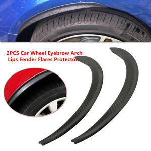 2x Car Wheel Eyebrow Arch Trim Lips Fender Flares Protector Carbon Fiber Rubber