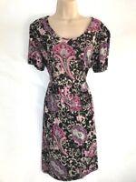 Yours Plus Size Paisley Print Black Dress UK 16,18,20,22-24,26-28,30-32 DD15