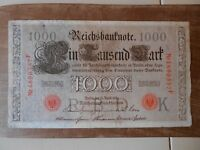 3 X German Banknotes. 1000 Mark. Dated 1910. Reichsbanknote. Green and red stamp