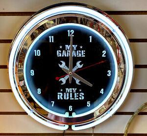 My Garage My Rules Shop Work Mechanic Tool Wrench Auto Repair 2 Ring Neon Clock