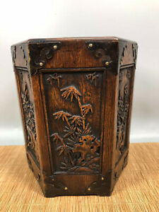 7.2'' Chinese Antique Wood brush pot natural Yellow rosewood Pen holder