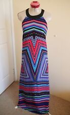 INDIKAH Black Pink Blue MAXI DRESS Size M 14 Long Stripe Blue White Geo Print