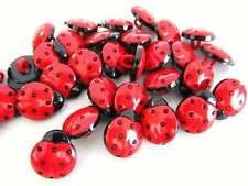 Confezione da 50 - Rosso & Nero Coccinella - Artigianato Ladybug Buttons 15mm