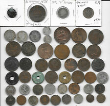 Old World Coins All Pre-1900 Coin Lot 50 Diff (5 Silver) Roman to 1899 AG to XF