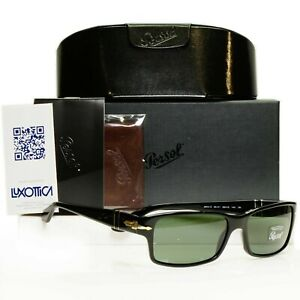 Authentic Persol Sunglasses Mens Womens Glossy Black Rectangle 2803 95/31