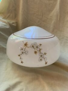 """Ceiling Fan Replacement Globe 10"""" X 9"""" White With Sm Flowers"""