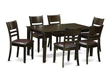 7pc Capri dining set, dinette table with 6 Lynfield leather chairs in cappuccino