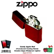Zippo Candy Apple Red Lighter, Genuine Windproof, Translucent Coating #21063