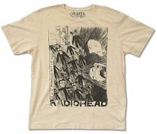 RADIOHEAD SCRIBBLE NATURAL TAN T-SHIRT WASTE NEW ADULT OFFICIAL KID A LYRIC 2XL