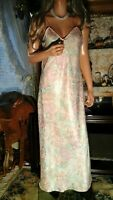 VTG 70's CHRISTIAN DIOR LONG SILKY GOWN NIGHTGOWN SHINY FLORAL JACQUARD LINGERIE
