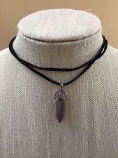 NWT Natural Purple Quartz Healing Stone Choker Statement Necklace