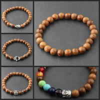 Men's 8MM Multilayer Wooden Beaded Jewelry Stretch Yoga Reiki Women Bracelets