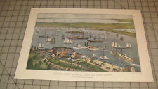 """""""Upper and Lower Bay of New York"""" Ships CURRIER & IVES 11"""" x 16"""" Calendar PRINT"""