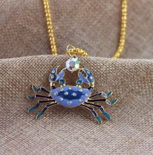 Cool!New Betsey Johnson lovely enamel Blue crab necklace pendant Rare jewels BJ