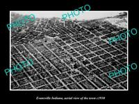 OLD POSTCARD SIZE PHOTO EVANSVILLE INDIANA AERIAL VIEW OF THE TOWN c1930 1