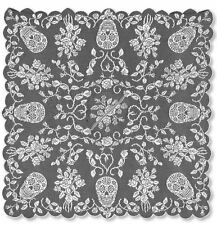Heritage Lace Sugar Skull & Roses Fine-Gauge Pewter Lace 58x58 Square Poncho