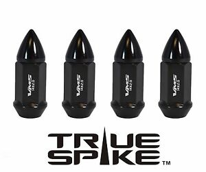 """20 TRUE SPIKE 60MM 9/16"""" FORGED STEEL EXTENDED LUG NUTS W/ BLACK BULLET SPIKES"""