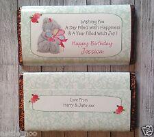 PERSONALISED Teddy  CHOCOLATE BAR WRAPPER fits Galaxy 114g Birthday Easter