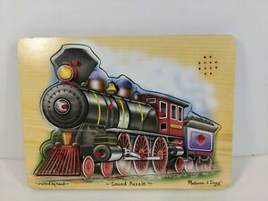Melissa & Doug Hand Crafted Wood Train Sound Puzzle #341 - Tested - 11.75 x 8.75