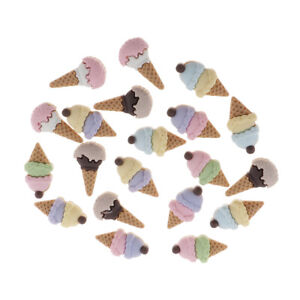 20x Flatback Buttons Polymer Clay Ice Cream Cabochons Slime Charms Scrapbook