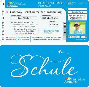 6 Einladungskarten Einschulung Schulanfang Einladung Schule Blau mit Druck